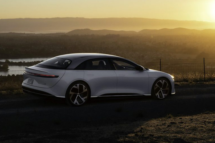Lucid Air at sunset